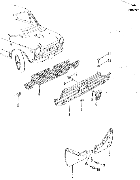 1972 n600 ** 2 DOOR 4MT FRONT GRILLE - MUDFLAP diagram