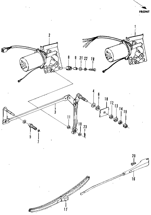 1970 n600 ** 2 DOOR 4MT WINDSHIELD WIPER diagram