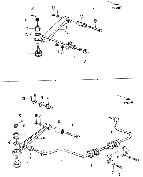 1971 n600 ** 2 DOOR 4MT LOWER ARM - STABILIZER diagram
