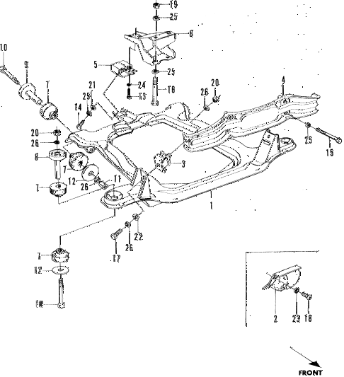 1972 n600 ** 2 DOOR 4MT ENGINE MOUNT diagram