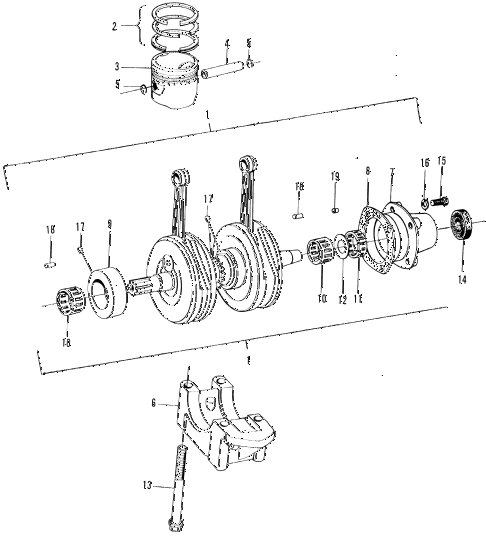 1972 n600 ** 2 DOOR 4MT CRANKSHAFT - PISTON diagram