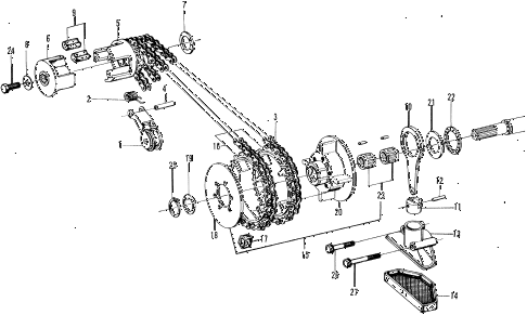 1972 n600 ** 2 DOOR 4MT PRIMARY DRIVE - OIL PUMP diagram