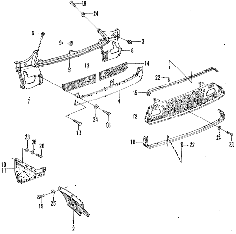 1972 z600 ** 2 DOOR 4MT FRONT GRILLE - MUDFLAP diagram