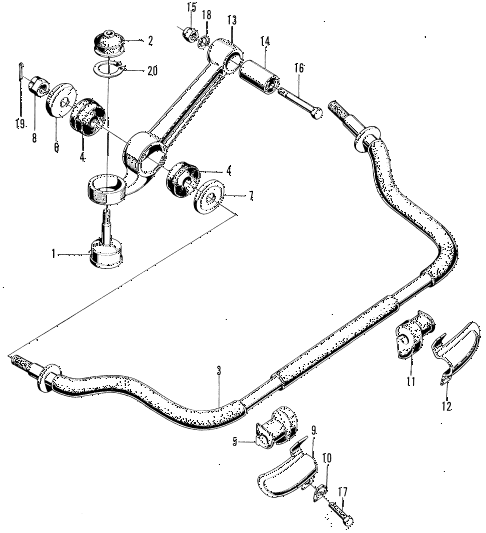 1972 z600 ** 2 DOOR 4MT LOWER ARM - STABILIZER diagram