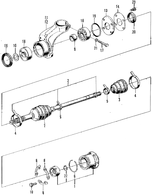1971 z600 ** 2 DOOR 4MT DRIVESHAFT - KNUCKLE diagram