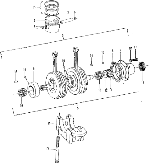 1972 z600 ** 2 DOOR 4MT CRANKSHAFT - PISTON diagram
