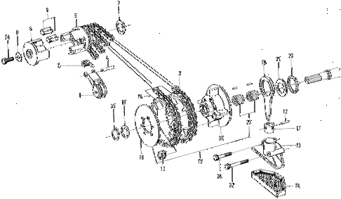 1970 z600 ** 2 DOOR 4MT PRIMARY DRIVE - OIL PUMP diagram