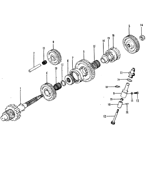 1974 civic **(1200) 2 DOOR HMT HMT COUNTERSHAFT diagram