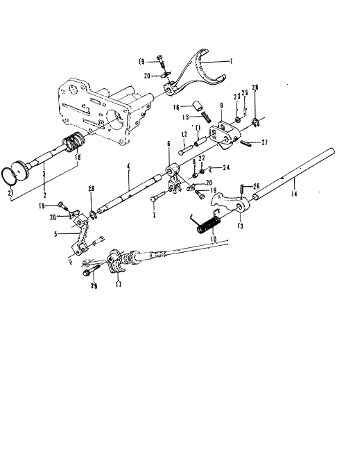 1973 civic **(1200) 3 DOOR HMT HMT SHIFT LEVER SHAFT diagram