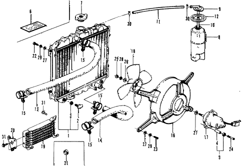 1973 civic **(1200) 3 DOOR HMT HMT RADIATOR diagram