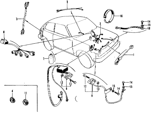 1973 civic **(1200) 3 DOOR 4MT SUB WIRE HARNESS - BATTERY CABLE diagram