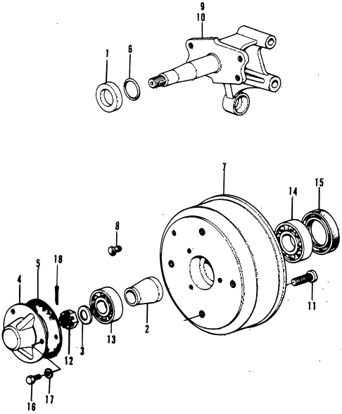 1973 civic **(1200) 3 DOOR HMT REAR BRAKE DRUM diagram