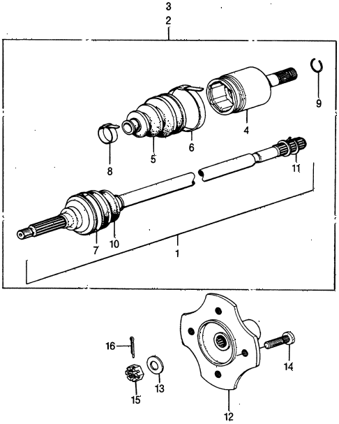 1973 civic **(1200) 2 DOOR 4MT DRIVESHAFT diagram