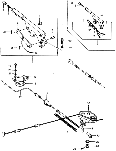 1973 civic **(1200) 3 DOOR 4MT PARKING BRAKE diagram