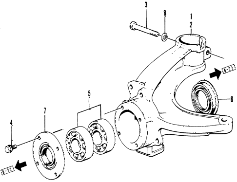 1976 civic **(1200) 3 DOOR HMT STEERING KNUCKLE diagram