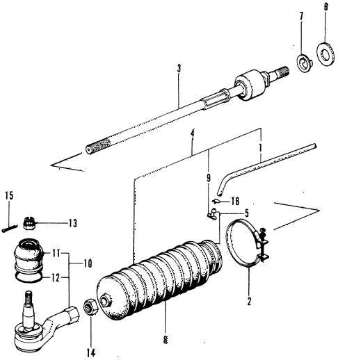 1974 civic **(1200) 3 DOOR 4MT TIE ROD diagram