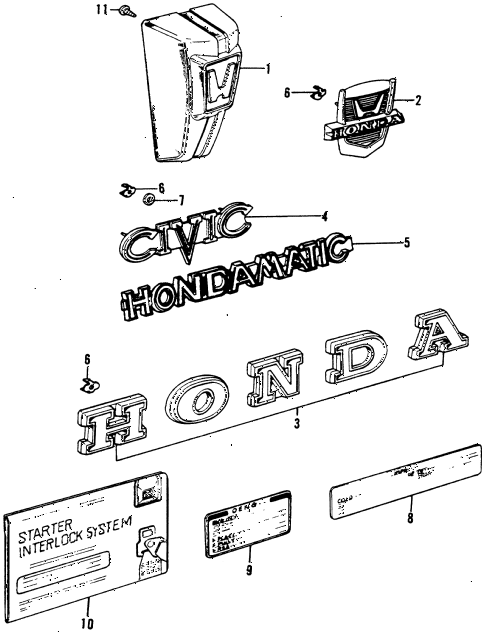 1974 civic **(1200) 2 DOOR 4MT EMBLEMS diagram