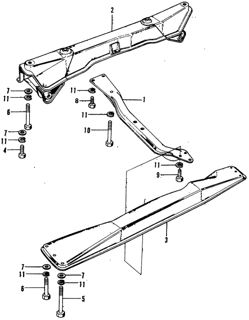 1974 civic **(1200) 3 DOOR 4MT CROSS MEMBERS diagram