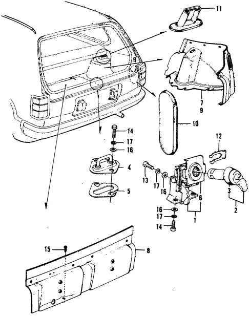 1974 civic **(1200) 3 DOOR HMT TAILGATE TRIM - TAILGATE LOCK 3DR diagram