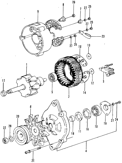 1974 civic **(1200) 3 DOOR HMT ALTERNATOR COMPONENTS diagram