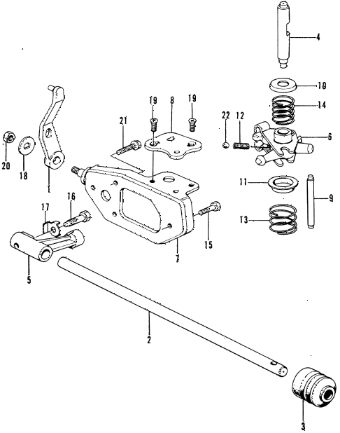 1976 civic **(1200) 3 DOOR 4MT MT SHIFT ARM diagram