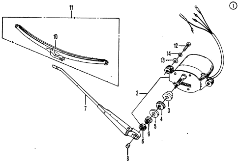 1973 civic **(1200) 3 DOOR 4MT REAR WINDOW WIPER MOTOR diagram