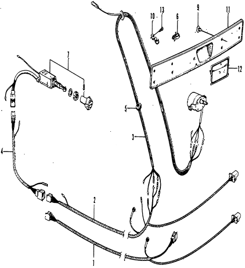 1976 civic **(1200) 3 DOOR 4MT REAR WIPER WIRING HARNESS diagram