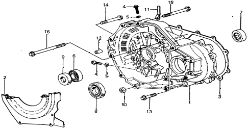 1975 civic **(1500) 2 DOOR HMT HMT TORQUE CONVERTER HOUSING diagram