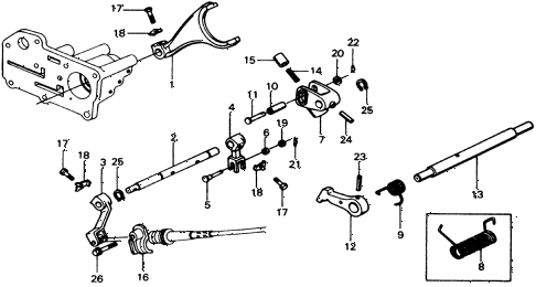 1975 civic **(1500) 2 DOOR HMT HMT SHIFT LEVER SHAFT diagram
