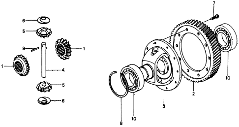 1975 civic **(1500) 3 DOOR HMT HMT DIFFERENTIAL GEAR diagram