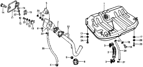 1975 civic **(1500) 3 DOOR HMT FUEL TANK diagram