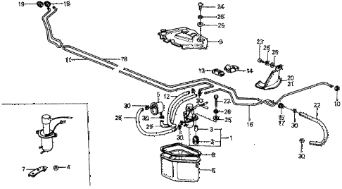 1975 civic **(1500) 2 DOOR HMT FUEL PUMP - FUEL STRAINER diagram