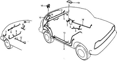 1976 civic **(1500) 2 DOOR 4MT WIRE HARNESS (2) diagram
