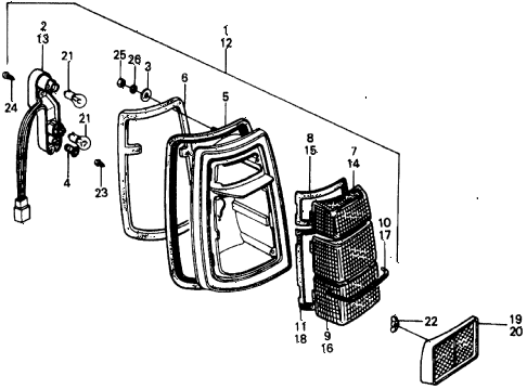 1976 civic **(1500) 3 DOOR 5MT TAILLIGHT diagram
