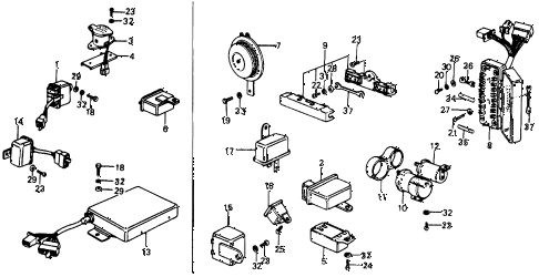 1976 civic **(1500) 2 DOOR HMT FUSE BOX - HORN diagram