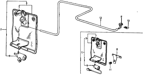 1975 civic **(1500) 2 DOOR HMT WINDSHIELD WASHER diagram