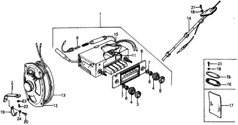 1976 civic **(1500) 2 DOOR 4MT AUTO RADIO diagram