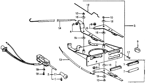 1975 civic **(1500) 3 DOOR 5MT HEATER LEVER diagram