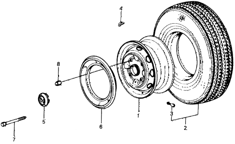 1976 civic **(1500) 3 DOOR 4MT TIRE - WHEEL DISK diagram