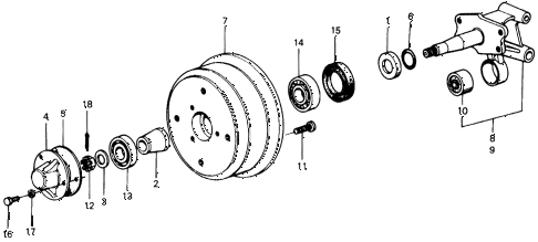 1976 civic **(1500) 2 DOOR 4MT REAR BRAKE DRUM diagram