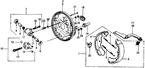 1976 civic **(1500) 2 DOOR HMT REAR BRAKE SHOE diagram