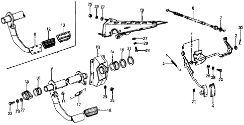 1975 civic **(1500) 2 DOOR HMT HMT PEDAL diagram