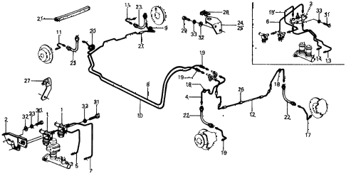 1975 civic **(1500) 3 DOOR HMT BRAKE HOSE - BRAKE PIPE diagram