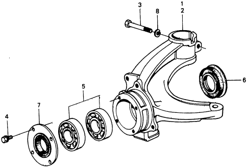 1976 civic **(1500) 2 DOOR HMT STEERING KNUCKLE diagram