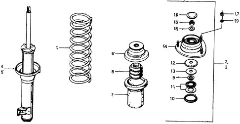 1976 civic **(1500) 3 DOOR 5MT FRONT SHOCK ABSORBER diagram
