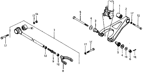 1976 civic **(1500) 3 DOOR 4MT REAR LOWER ARM - RADIUS ROD diagram