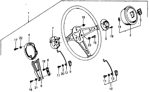 1976 civic **(1500) 2 DOOR 4MT STEERING WHEEL diagram