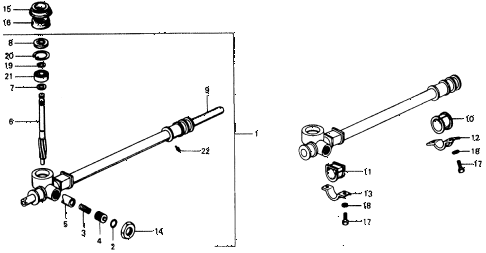1975 civic **(1500) 3 DOOR 5MT STEERING GEAR BOX diagram
