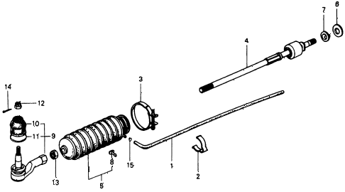 1975 civic **(1500) 3 DOOR 4MT TIE ROD diagram