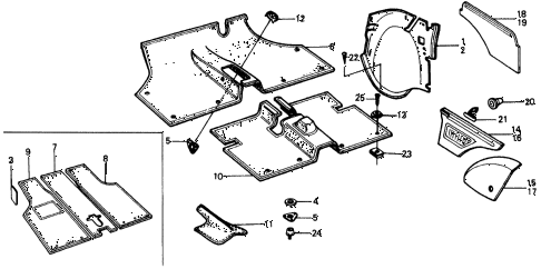 1977 civic **(1500) 3 DOOR 4MT FLOOR MAT - SIDE COWL TRIM diagram
